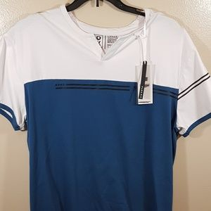 LG MENS BLUE/WHITE SHORT SLEEVE SHIRT (216)